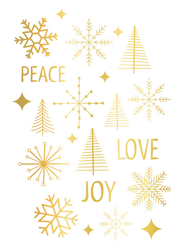 Christmas card vector template snowflakes gold foil white. Modern graphic faux metallic golden Christmas trees stars holiday greeting card. Peace Love Joy lettering for Christmas holidays, New Years.