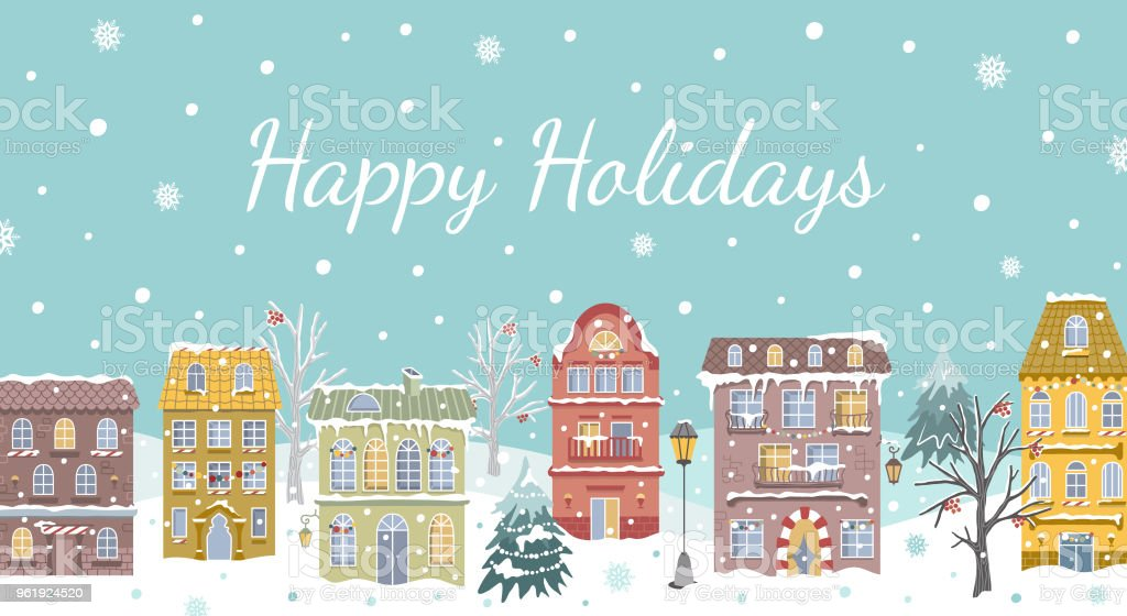 christmas card vintage houses snowfall new year design for real