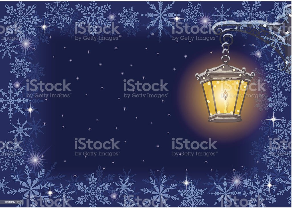 Christmas card: vintage lamp and snowflakes royalty-free stock vector art