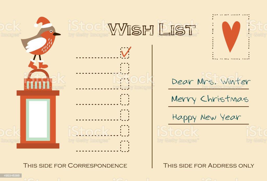 Ma Carte De Noel.Carte De Noël Ma Liste De Souhaits Oiseaux Et Lanterne