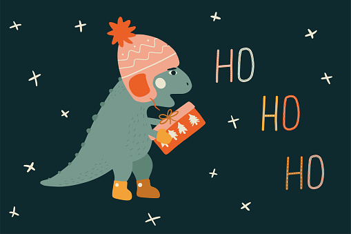 Christmas card with a a little t rex dinosaur. Winter vector illustration with baby dino in a hat and shoes. Funny character in cartoon hand drawn style. Cute design for greeting card, printing on T-shirt, pillow and more.