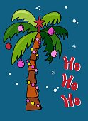 Christmas card with a decorated palm tree. Lettering - Ho ho ho. Exotic Christmas.