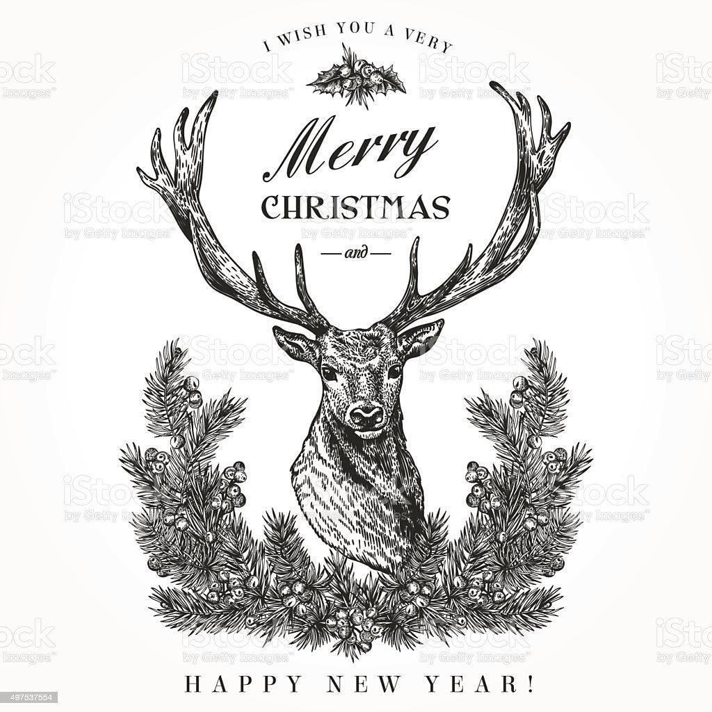 Christmas card with a deer. vector art illustration
