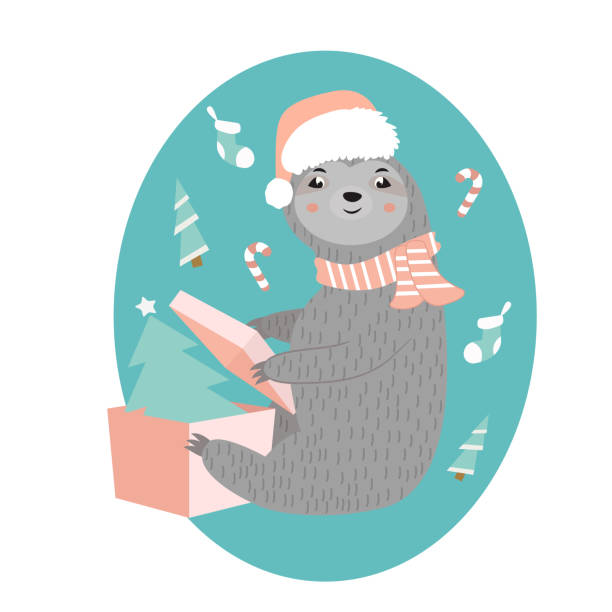 Christmas card with a funny sloth opening his present Christmas card with a funny sloth opening his present. baby sloth stock illustrations