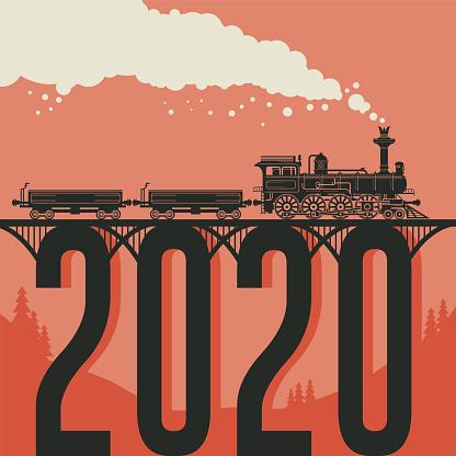Christmas card with a vintage steam locomotive train