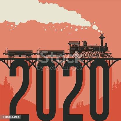 Christmas card with a vintage steam locomotive train. Vector illustration