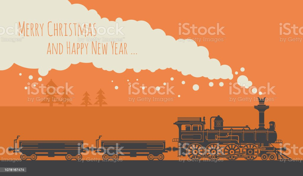 Christmas Card With A Vintage Steam Train Stock Illustration