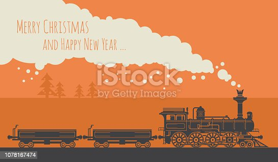 Christmas card with a vintage steam train. Vector illustration