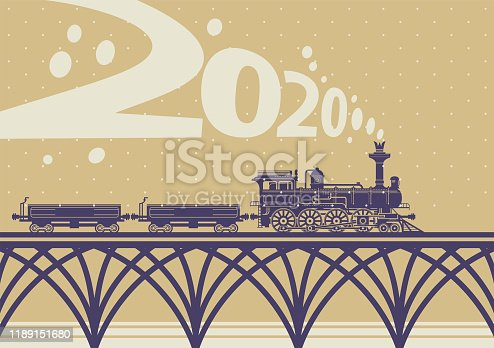 New year and Christmas greeting card. Happy new year banner. Christmas card with a vintage steam train. Vector illustration