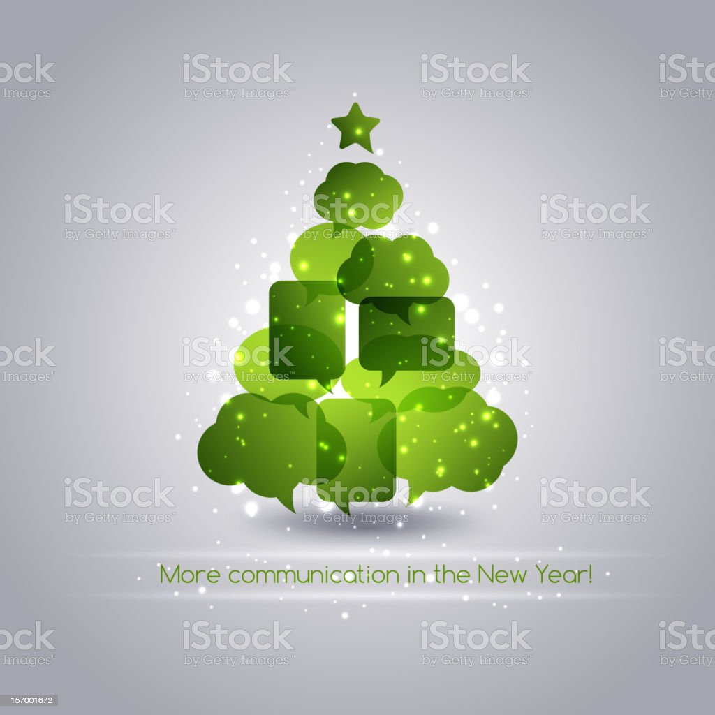 Christmas card with abstract tree and speech bubbles royalty-free stock vector art
