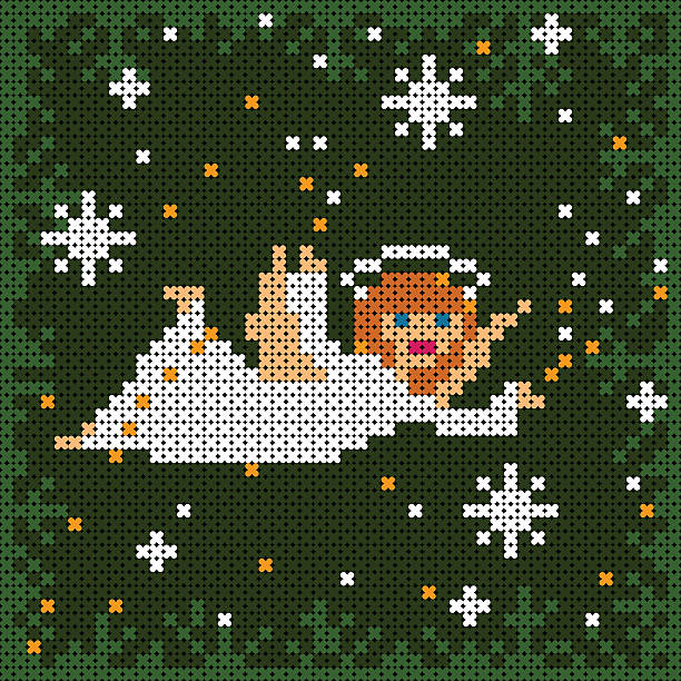 christmas card with angel flying among snow flakes vector art illustration