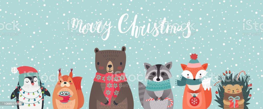 Weihnachtskarte mit Tieren, hand gezeichnete Stil. - Lizenzfrei 2019 Vektorgrafik