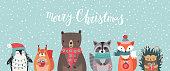 Christmas card with animals, hand drawn style. Woodland characters, bear, fox, raccoon, hedgehog, penguin and squirrel. Vector illustration.