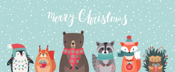 Christmas card with animals, hand drawn style. Christmas card with animals, hand drawn style. Woodland characters, bear, fox, raccoon, hedgehog, penguin and squirrel. Vector illustration. animal stock illustrations