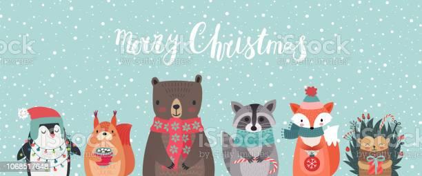 Weihnachtskarte Mit Tieren Hand Gezeichnete Stil Stock Vektor Art und mehr Bilder von 2019