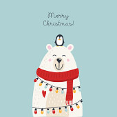 istock Christmas card with animals 1183332908
