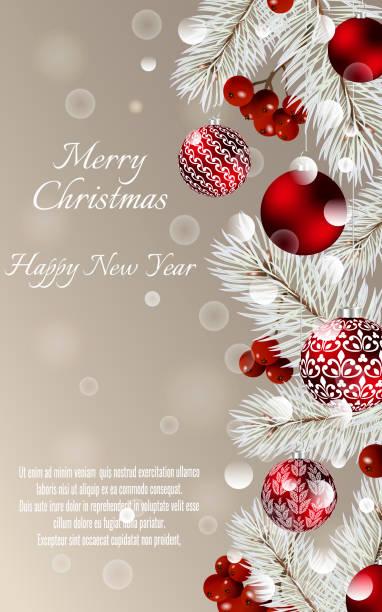ボールとテキストのためのスペースを持つモミの枝でクリスマス カード。 - 休日/季節ごとのイベント点のイラスト素材/クリップアート素材/マンガ素材/アイコン素材