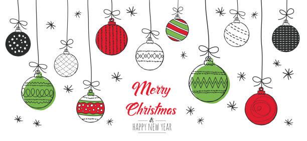 bildbanksillustrationer, clip art samt tecknat material och ikoner med julkort med grannlåt - julkulor