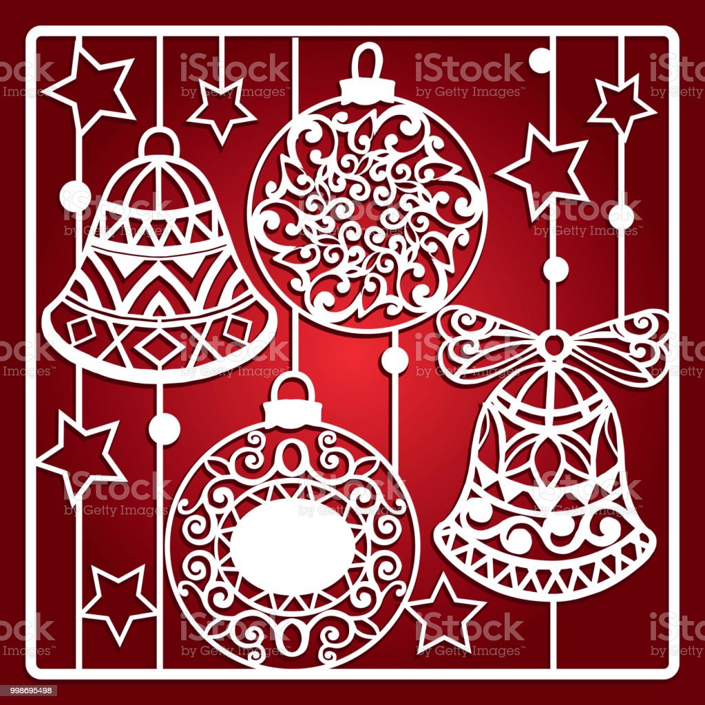 Ilustración de Tarjeta De Navidad Con Campanas Para Corte Por Láser ...