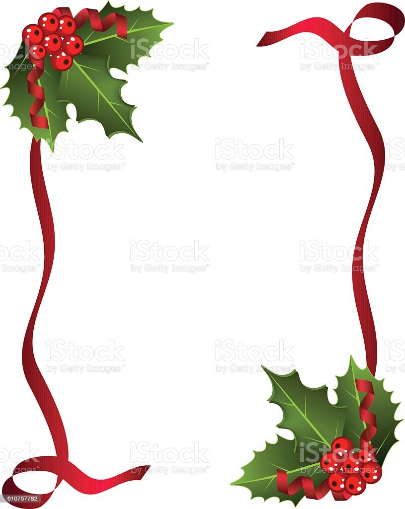 Christmas Card with Berries and red  ribbon vector art illustration