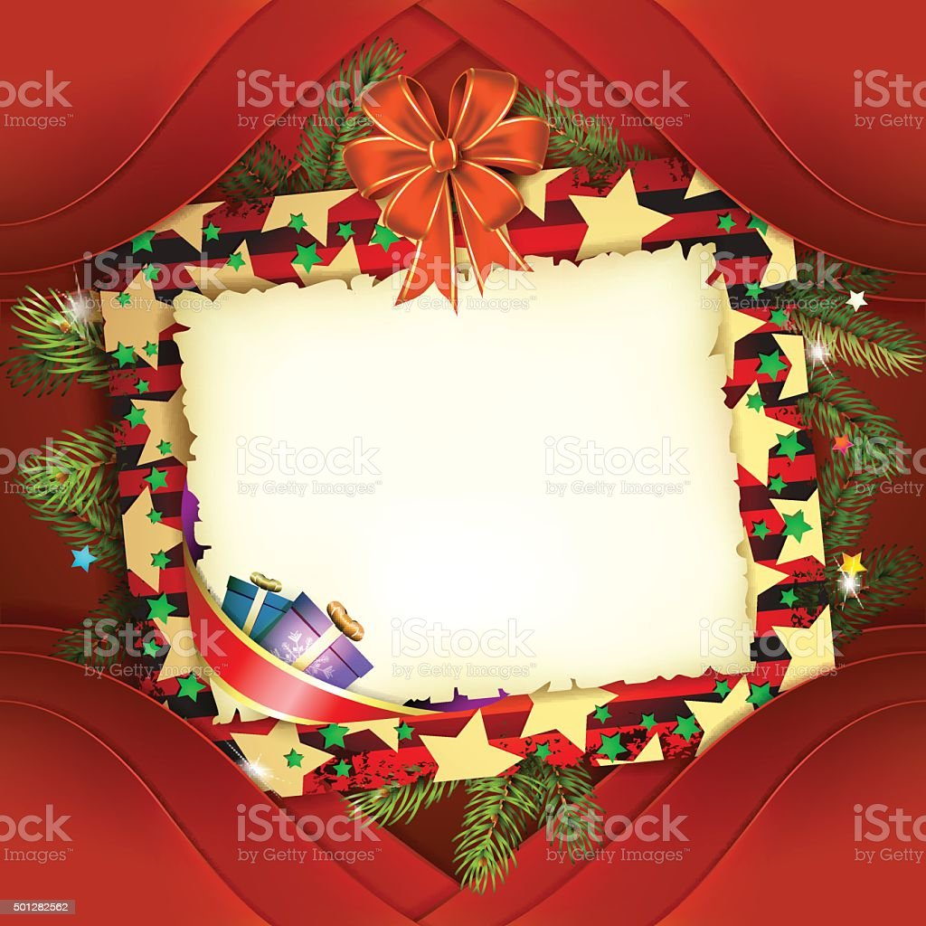 Christmas Card With Bow And Old Paper Stock Vector Art & More Images ...