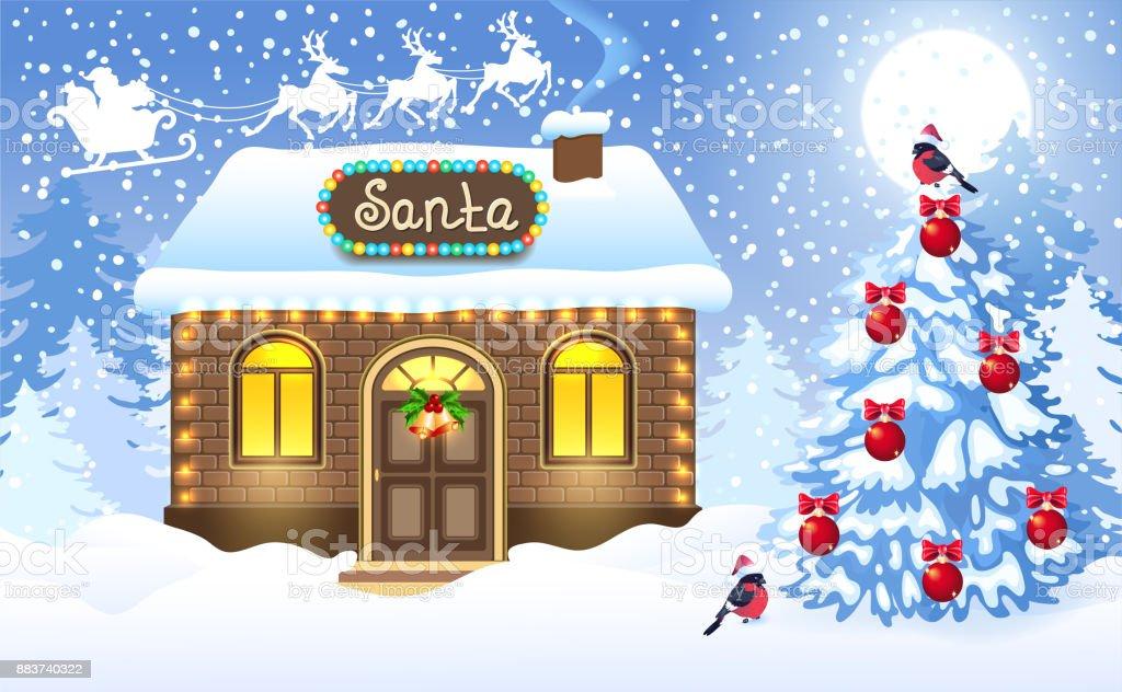christmas card with brick house and santas workshop. Black Bedroom Furniture Sets. Home Design Ideas