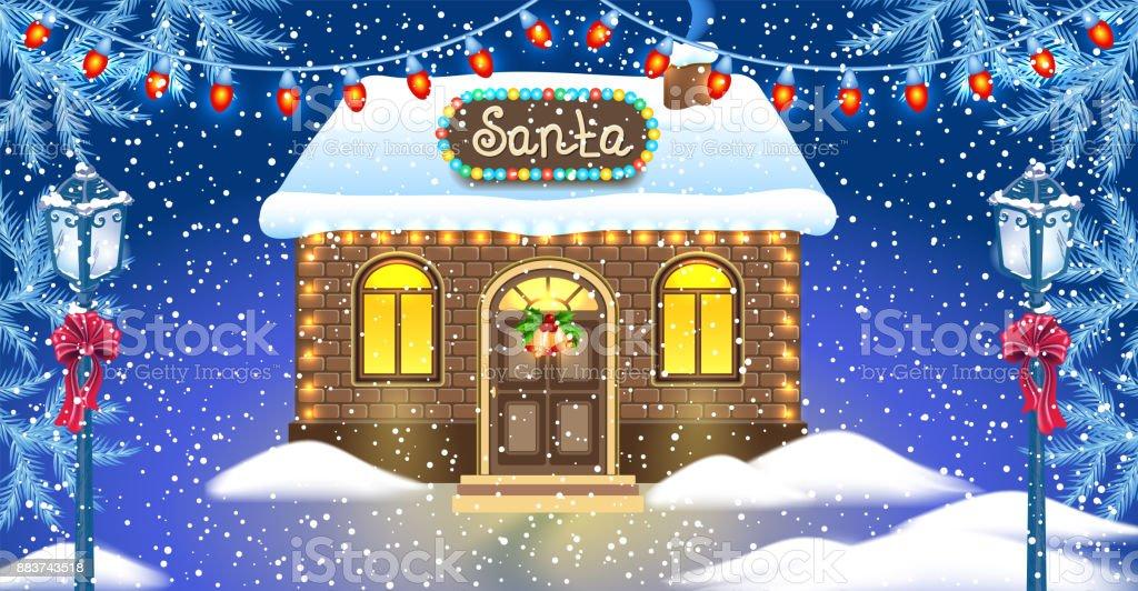 Carte de Noël avec la maison de briques et l'atelier du père Noël contre hiver forêt réverbères de fond et vintage - Illustration vectorielle