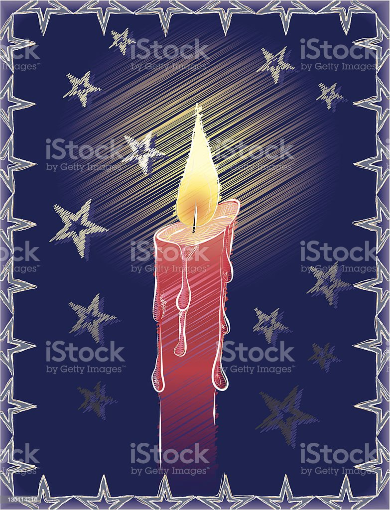 Christmas Card with Candle vector art illustration