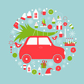 Christmas card  with  car and Christmas tree.Vector illustration.