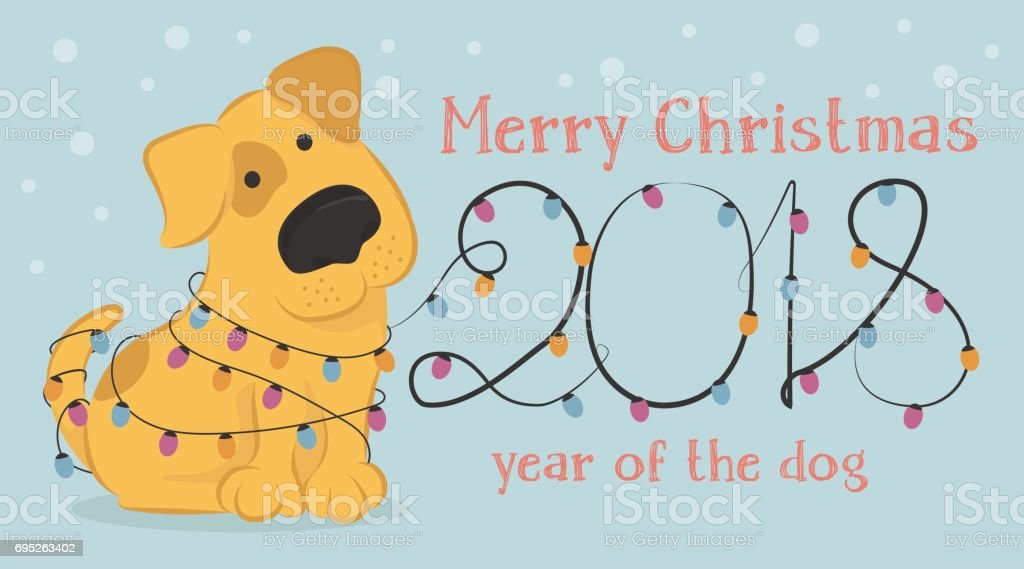 Carte De Noël Avec Chien De Dessin Animé Jaune Et Les