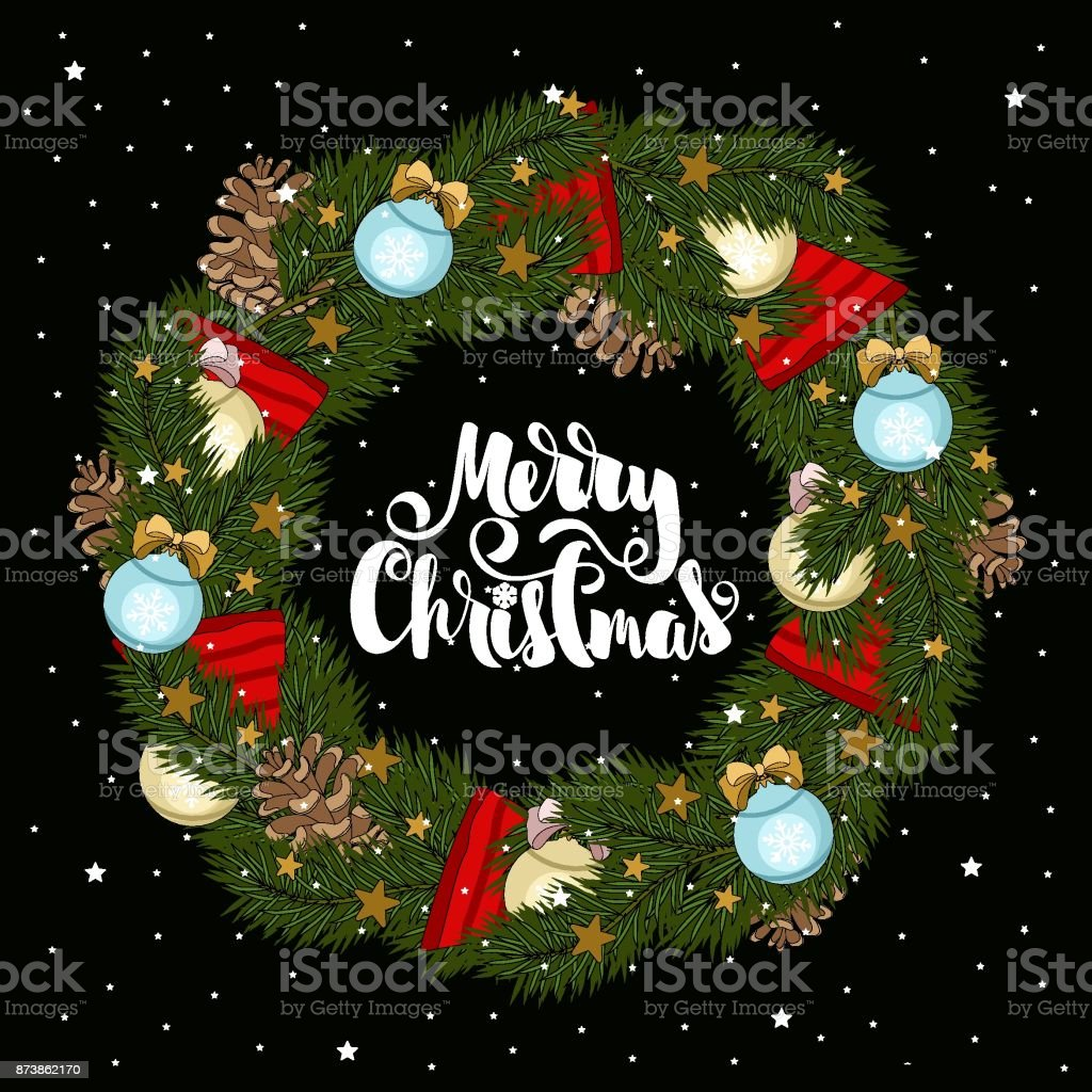 christmas card with christmas tree branches and christmas decorations congratulatory inscriptions vector illustration