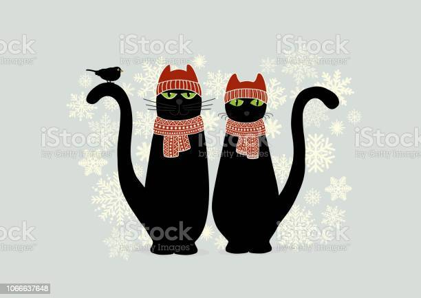 Christmas card with cute cartoon black cats and snowflake vector id1066637648?b=1&k=6&m=1066637648&s=612x612&h=eqaxle7yenhh4xcokj7ywbk1yob 31swyfejpy0ggqs=