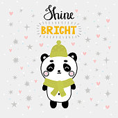 Christmas card with cute little panda. Funny winter animals, cartoon character. Inspiration phrase Shine bright. Hand drawn lettering. Printable greeting postcard design. Vector illustration