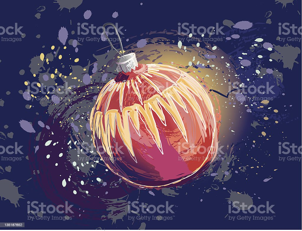 Christmas Card with Decoration Ball vector art illustration