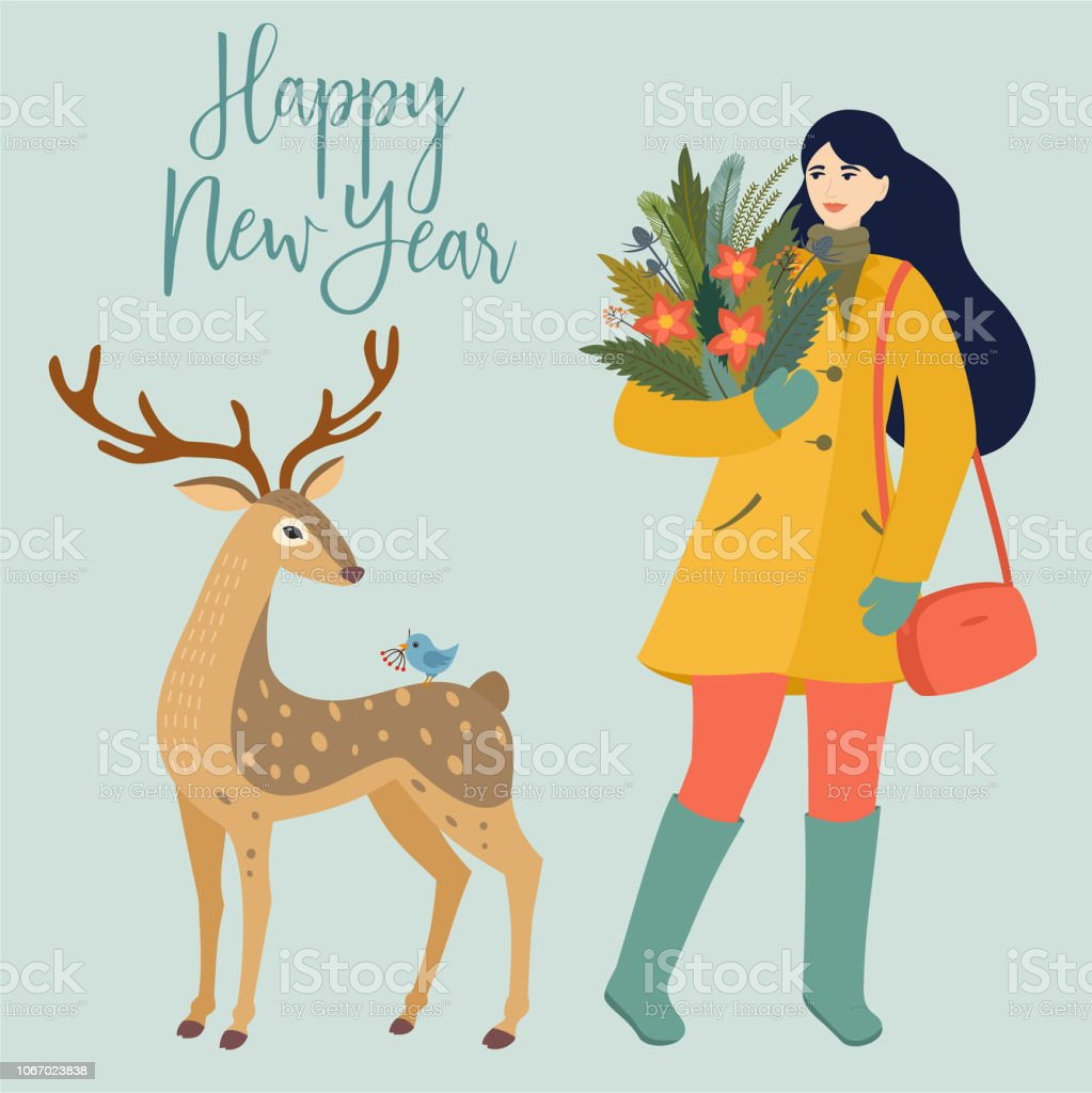 Christmas Card With Deer Girl And Winter Bouquet Winter Vector Illustration In Retro Style Stock Illustration Download Image Now Istock