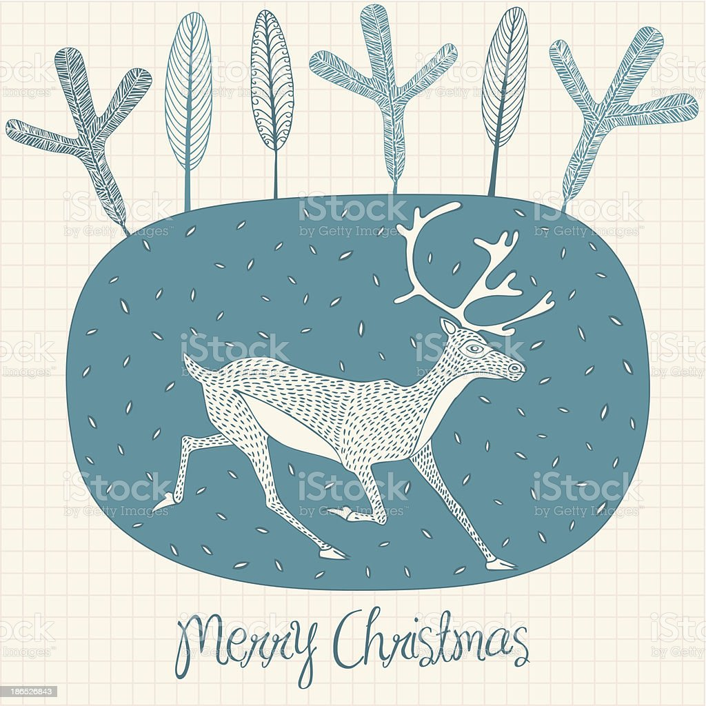 Christmas card with deer royalty-free stock vector art