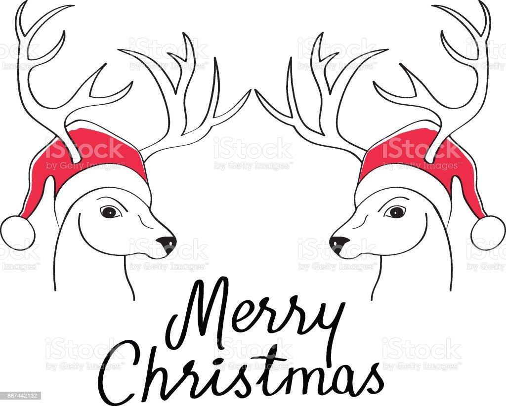 Reindeer Christmas Cards Drawings.Christmas Card With Drawing Of Deer With Santas Hat Stock