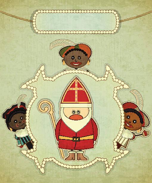 christmas card with dutch santa claus - sinterklaas - dutch traditional clothing stock illustrations, clip art, cartoons, & icons