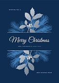 Christmas Card with Evergreen Silhouettes. Stock illustration