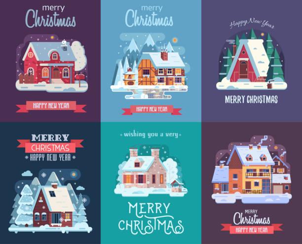 stockillustraties, clipart, cartoons en iconen met kerstkaart met forest winter huis bij nacht - christmas cabin