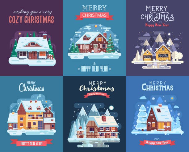 Christmas Card with Forest Winter House by Night Christmas cards set with forest winter houses and homes on countryside background. Xmas congratulation postcards with snowy cottages and farmhouses on rural landscape in flat and cartoon style. cottage stock illustrations