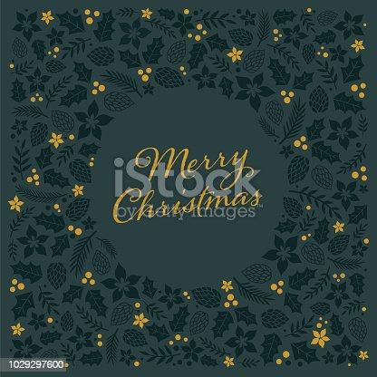Christmas Card with Frame. - Illustration