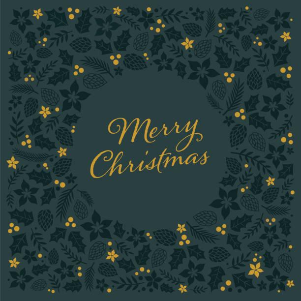weihnachtskarte mit rahmen. - laub winter stock-grafiken, -clipart, -cartoons und -symbole