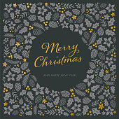 Christmas Card with Frame. Stock illustration