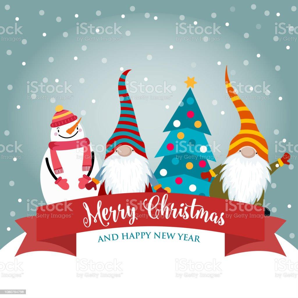 Carte De Noel Droles.Carte De Noël Avec Les Gnomes Drôles Et Bonhomme De Neige