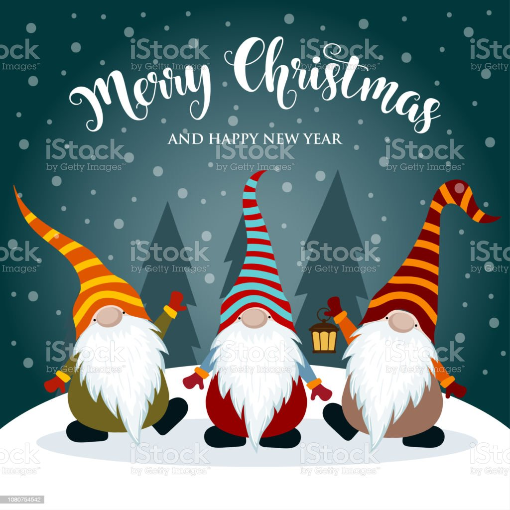 Carte De Noel Droles.Carte De Noël Avec Les Gnomes Drôles Vecteurs Libres De