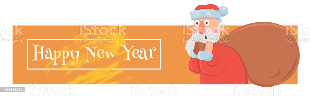 Christmas card with funny Santa Claus carrying big bag of presents. Santa Claus looks bewildered and confused. Christmas banner or header for website. Cartoon character vector illustration. vector art illustration