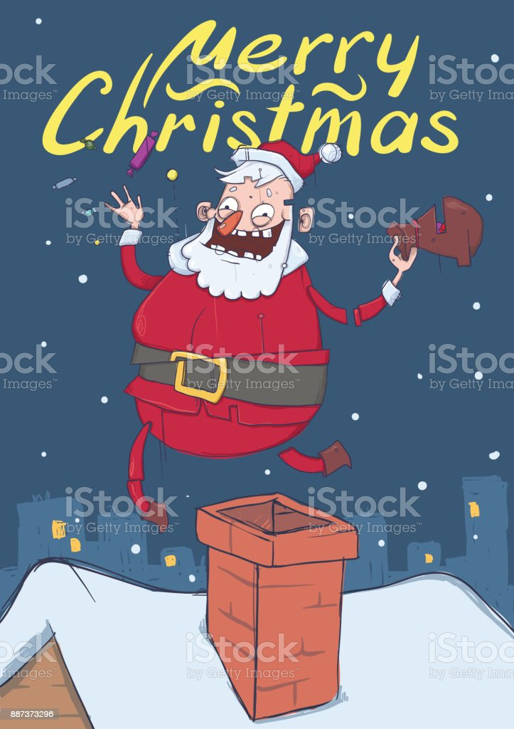 Christmas card with funny Santa Claus. Santa brings gifts and throws candies in the air. Christmas trees, snowy weather. Vertical vector illustration. Cartoon character with lettering. Copy space. vector art illustration