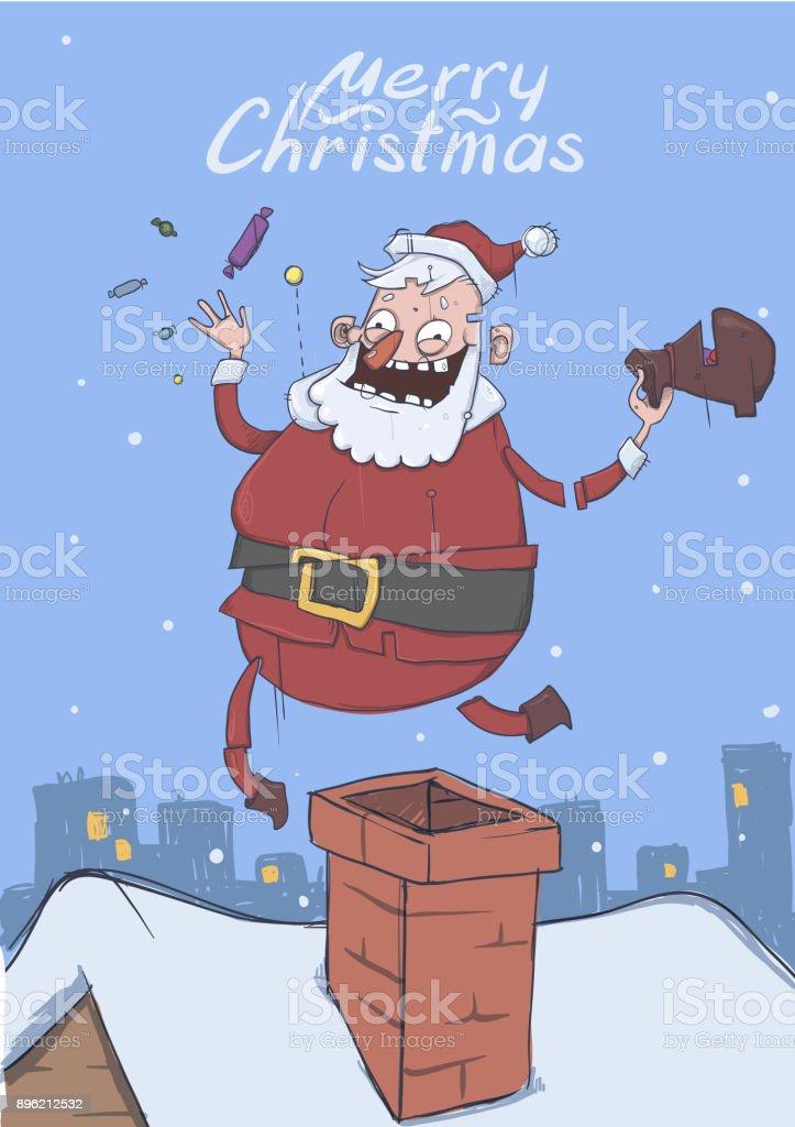 Carte De Noël Avec Le Drôle De Père Noël Père Noël Apporte