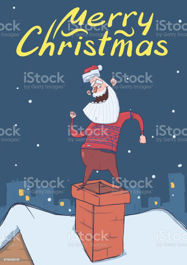 Christmas Card With Funny Santa Claus Smiling And Dancing On A ...